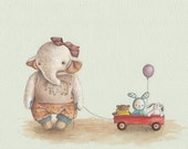 Ellie and Her Toys art print from an original illustration by Irene Owens