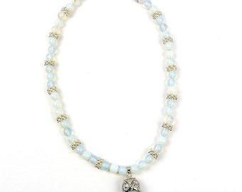 Owl Pendant Necklace - Opalite Semi-Precious Stone