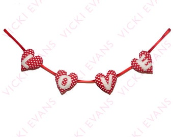 Valentines Padded Heart Bunting - Love