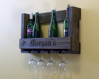 rustic wine rack with glass holder custom engraving wedding anniversary gift