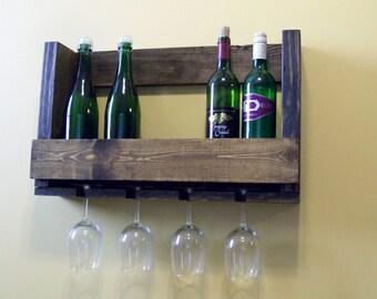 Wood Wine Rack with Wine Glass Holder Wedding Anniversary Gift