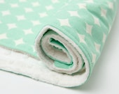 Gender Neutral Baby Blanket - Minky Baby Blanket, Mint Dots