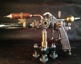 "SOLD Custom Orders Only     Steampunk ""Blue Aether"" Ray Gun"