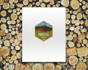 Colorado Mountain 14er Badge Print - Pikes Peak and Garden of the Gods