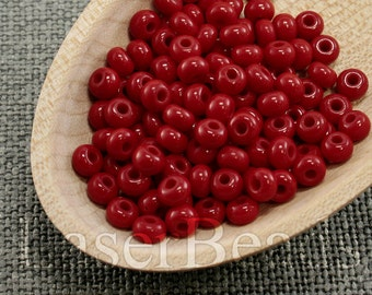 20g 5/0 seed beads Czech rocailles Opaque Red NR 298 Opaque seed beads Red seed beads last