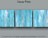 Canvas wall art, Ready to hang, Art print set, Abstract Teal home decor, Oversized artwork Large painting, Gray Blue, Office, Master bedroom