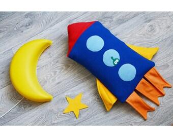 Rocket pillow for kids
