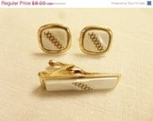 75% OFF Closing SALE Vintage Cuff Links and Tie Clip in Gold Tone With Pearly White Center