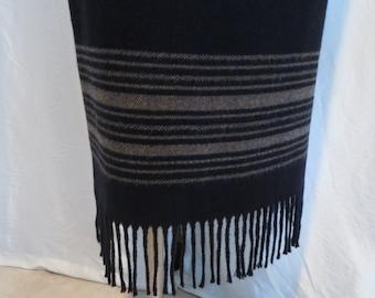 Vintage maxi skirt with fringe black brown winter long 80s size L 14