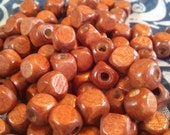 Small Square Wood Beads, Medium-Brown Wood Beads, Painted