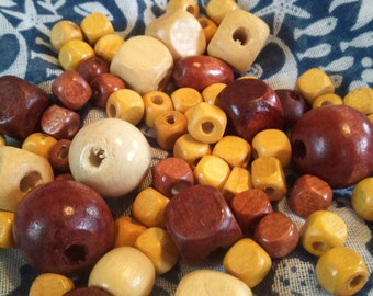 Wood Bead Mix, Wooden Beads, Square Beads, Round Beads, Brown, Tan, and Yellow Beads