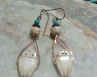 EARRINGS,handmade  CARVED OWLS, turquoise beads,on copper