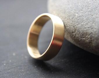 18ct Yellow Gold Wedding Band, Mens Wedding Ring, 6mm Wide Wedding Ring, Brushed Finish, Custom Size
