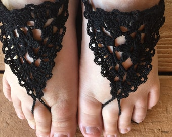Sandals, Barefoot Sandals, Womens Black Crochet Barefoot Sandals Style 20