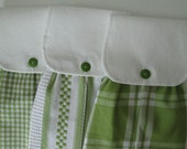 Hanging Kitchen Towel Set- Spring Green Checks Plaid Stripes Cotton Woven Towels White on White Check Fabric Top  Button Closure