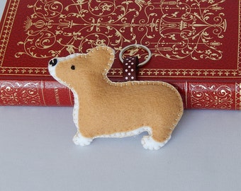 Welsh Corgi Keychain, Felt Key ring, Dog Bag Charm, Zipper Pull, Stocking Stuffer