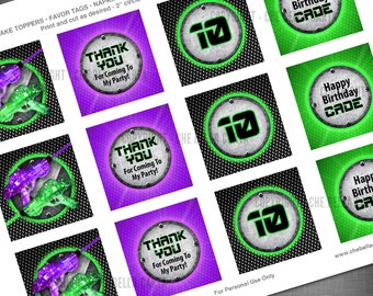 Laser Tag Theme 2 Inch Party Circles for Cupcake Toppers, Favor Bags, Napkin Rings, Decorations, etc.