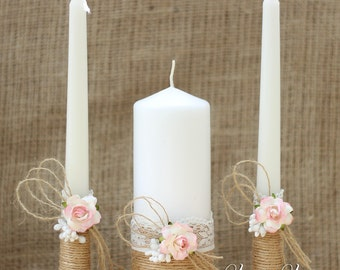 Wedding Unity Candle Set, Rustic Wedding Unity Candles, Bride and Groom Unity Candles