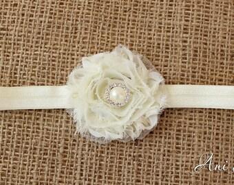 Rustic wedding Flowergirl Headband Baby Headband Baptism Headband Christening headband Photo Props
