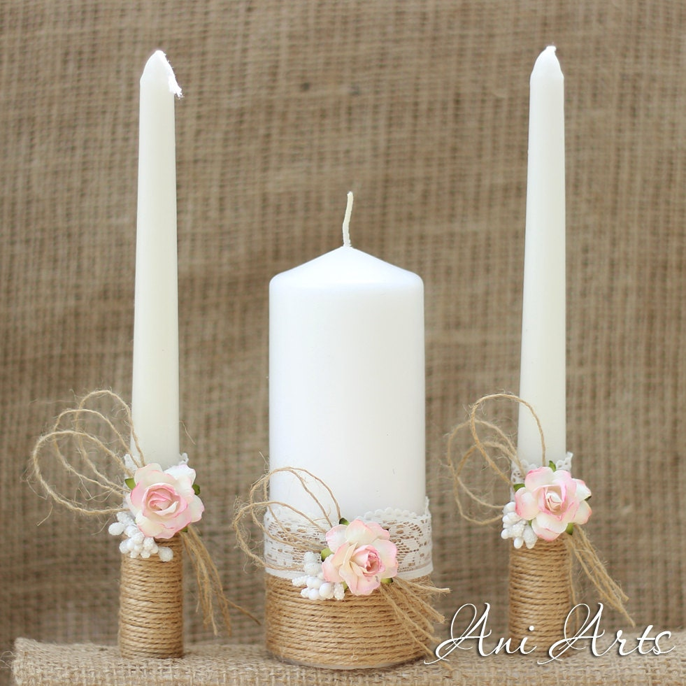 Wedding Candles: Rustic Wedding Set Unity Candles And Champagne Glasses Country