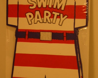 Swim Party Retro Hallmark Invitations Still in Package Vintage Swimsuit Design Retro Bathing Suit Pool Party