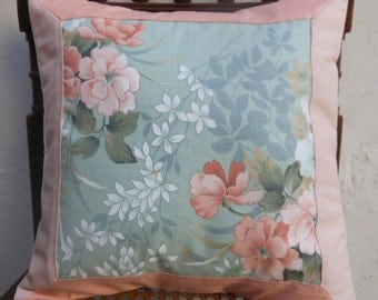 Patchwork cushion cover in tender pink and pistachio shades