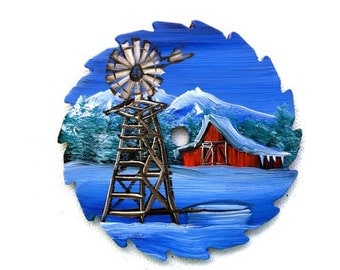 Hand Painted Miniature Round Saw Magnets Windmill Red Barn