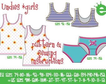Undies girls Euro-size 74 – 152 / US-size 9 m to 12 years / PDF & pattern instant download / instructions in English or German