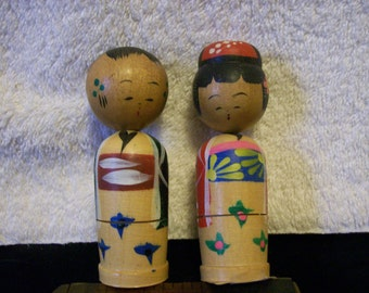 Kokeshi  Bobble Heads, Minature Pair Stackables, 2 inside each