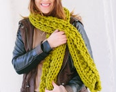 Gift Set: Northwoods Slouch Hat and Chunky Scarf Set in Green READY to SHIP