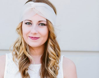 Pretty Champagne Headband in gorgeous sheer textured Chiffon Turban Twist Headwrap READY TO SHIP Today!