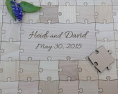 40 piece Custom Wedding Guest Book Puzzle with Mixed Grain Pieces