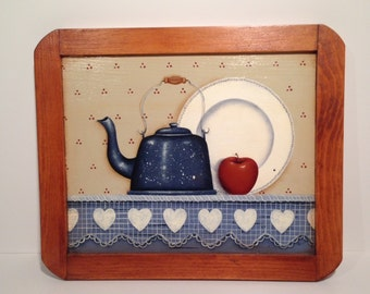 Hand Painted Wood Wall Hanging-Primitive Country Kitchen Wall Decor