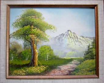 Vintage Oil Painting Mountain Nature Scene on Canvas Signed by Artist Original Wood Frame Cottage Chic Cowboy Chic Retro Frame Vintage Oil