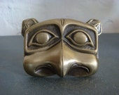 Vintage Mens Bronze Belt Buckle Racoon Alaskan Native American 1970s Tribal Buckle