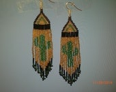 """Cactus beaded earrings 3.5"""" gold and green"""