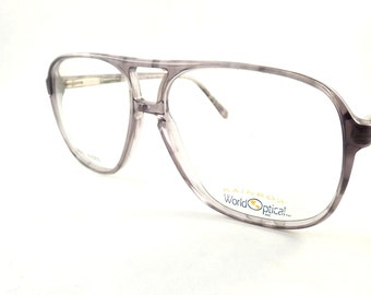 Mens Tortoise Aviators, Vintage Mens Eyeglasses, Gray Flexible Temple Glasses, New Old Stock Frames