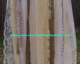 Rustic Charm Wedding hanging rag tie Photo prop fabric lace and burlap hanging chandelier shabby hanging burlap and lace garland swa