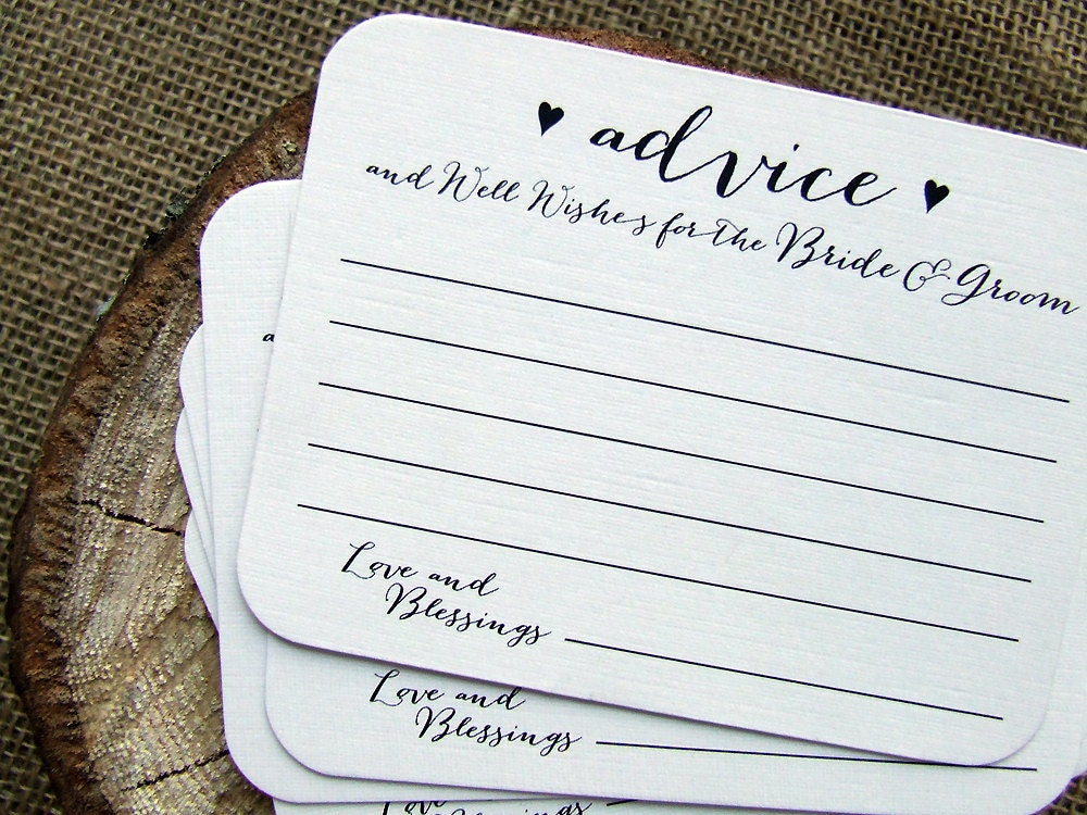 50 Wedding Advice Cards For The Bride And Groom Printed Cards