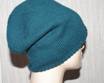 Cashmere, Forest Green Color, Hand Knit, Soft, Light ,Warm Hat for Men or Women