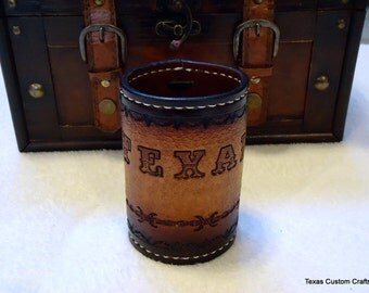 CLEARANCE!  Leather Can Cooler, Texas Can Cooler, Custom Can cooler, Personalized Can Cooler, Beer Hugger, Can Hugger