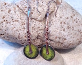 Torch Fired Enamel Copper Modern Wheels Lime Green Earrings