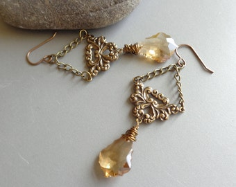 Wrapped Crystal Dangle Vintage Style Earring