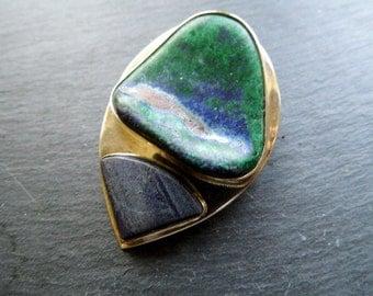 Pendant, silver pendant, azurite-malachite, silver, azurite, malachite, Blue, green, 2 stones