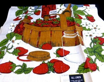 Fabulous Stevens Linens Strawberries Tea Towel