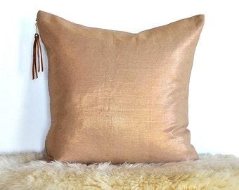Metallic Linen Reversible Pillow Cover with Metal Zipper- Copper/ Natural