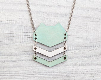 Tribal Necklace, Cat Pendant, Cute Mint Necklace, Wooden Pendant, Cat Necklace, Geometric Jewelry Gifts for Women, Mom Gift