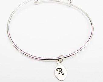 Initial bracelet, silver bangle, adjustable bracelet expandable, custom initial, stackable bangle best friend gift, minimalist jewelry charm