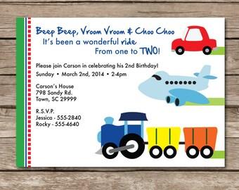 Planes, Trains, & Automobiles Birthday Invitation