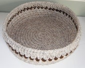 Large Crocheted Basket round storage, Magazine and Book Storage, Nursery Basket, Travel Pet Beds in a Sandy Beige w/Rust Brown